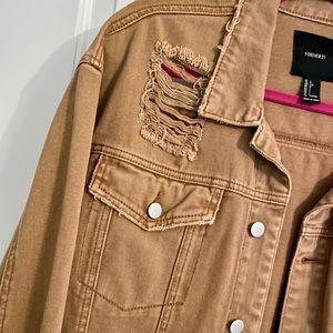 Distressed brown denim jacket